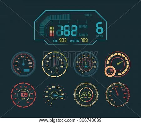 Speedometer Neon Set. Car Speed Indicator, Colored Neon Glow On The Arrow Dashboard, Clock, Colorful