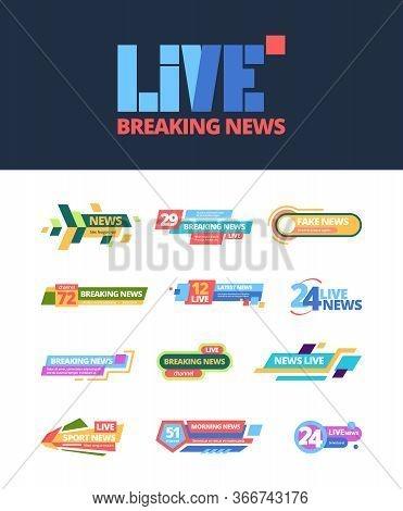 Title News Set. Web Headline Breaking Television Media Online Information Color Bar, Broadcast Daily