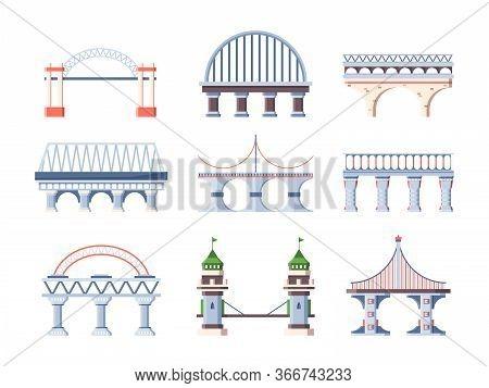 Bridge Set Architecture. Humpback City Arched Road Bridge, Industrial Construction Segments, Pillars