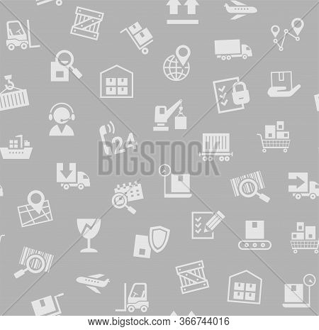 Cargo Delivery, Seamless Pattern, Gray, Color, Vector. Cargo Transportation And Delivery Of Goods. G