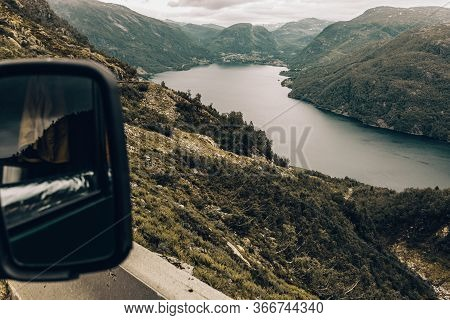 Tourism Vacation And Travel. Mountains Landscape And Fjord In Norway Scandinavia Europe. Beautiful N