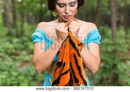 Stop Animal Killing Concept - Pretty Girl Show Animal Skin That She Wants To Tell Someone Dont Kill