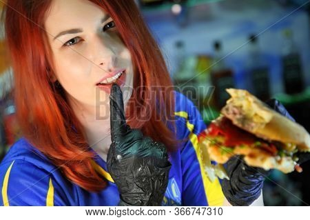 Girl With A Juicy Burger. Beautiful Happy Young Woman With Tasty Burger On Light Background. Girl Ho