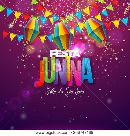 Festa Junina Illustration With Party Flags, Paper Lantern And Colorful Letter On Shiny Background. V