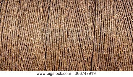 Skein Of Coarse Brown Twine, Closeup, Texture