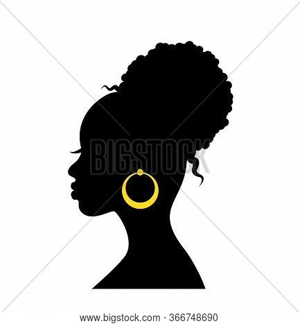 Black Graceful Silhouette Of The Head Of An African Woman In Profile With Curly Hair