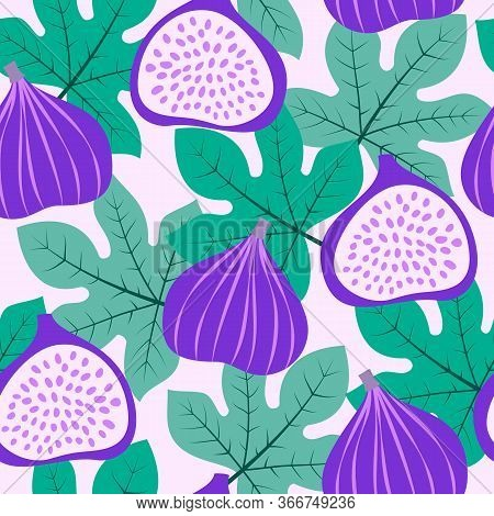 Abstract Fruit Pattern With Figs And Leaves. Vector Illustration In Hand Drawn Style.
