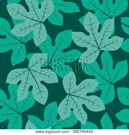 Abstract Pattern Fig Tree Colorful Leaves.. Ornament For Textile And Wrapping.