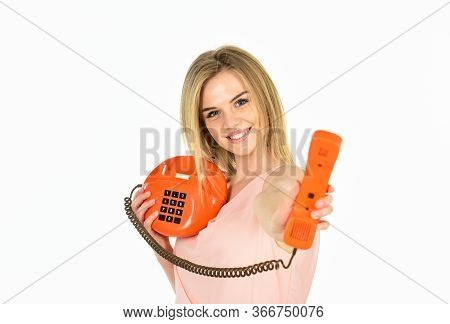 Get On The Phone. Telephone Conversation With Friend. Cheerful Woman Talking On Land Line Phone. Con