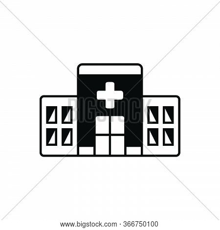 Black Solid Icon For Clinic Building Apothecary Hospital Asylum Dispensary