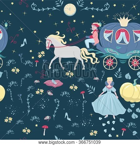 Seamless Pattern With Elements Of The Fairy Tale Cinderella .vector Image.