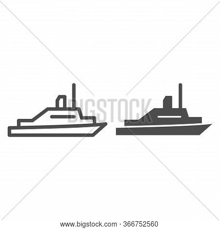 Pleasure Boat Line And Solid Icon, Sea Transport Symbol, Yacht Vector Sign On White Background, Spee