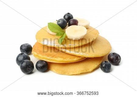 Tasty Pancakes With Fruits Isolated On White Background