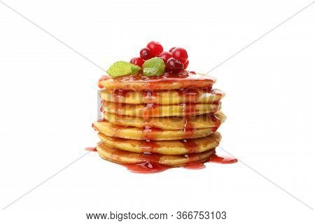 Pancakes With Jam And Cranberry Isolated On White Background