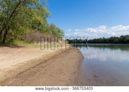 Sandy Riverbank. The Quiet Bank Of The Kuban River In Early Spring, Russia.