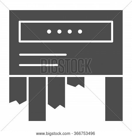Tear-off Ad Solid Icon. Tear Off Paper Notice On The Wall Symbol, Glyph Style Pictogram On White Bac