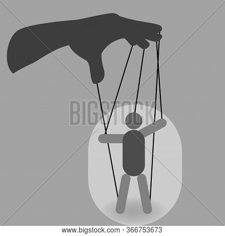 Hand With A Puppet On Ropes, Manipulation Concept