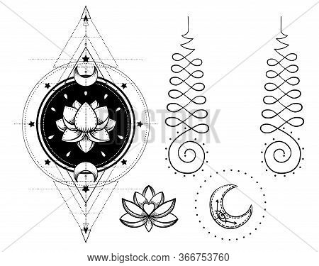 Set Of Ornamental Boho Chic Style Elements. Vector Budda Illustration. Tattoo Template. Hand Drawn T
