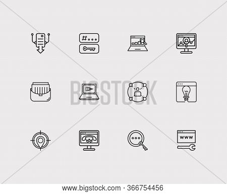 Seo Icons Set. Social Network And Seo Icons With Local Seo, Seo Copywriting And Project. Set Of Magn