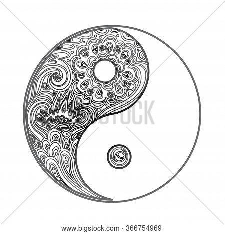 Yin And Yang Decorative Symbol. Hand Drawn Vintage Style Design Element. Alchemy, Spirituality, Occu