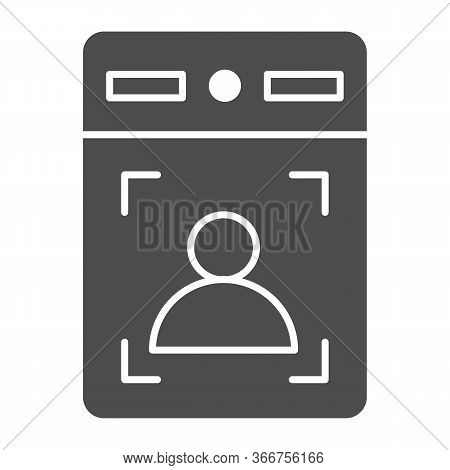 Intercom With Guest Solid Icon, Smart Home Symbol, Person Recognition Vector Sign On White Backgroun