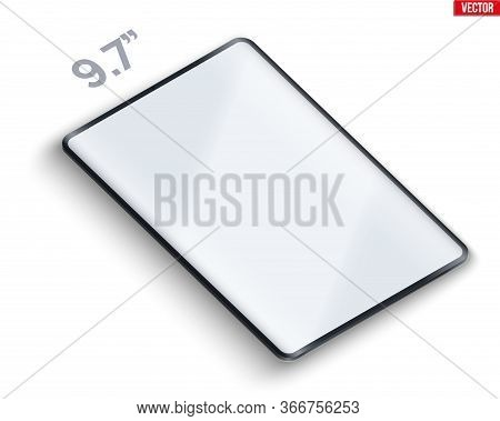 Tablet Pc Perspective Layout Presentation Mockup. Example Frameless 9.7 Model Tab With Touchscreen.