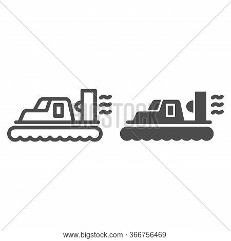Hovercraft Line And Solid Icon, Sea Transport Symbol, Marine Transportation Vector Sign On White Bac