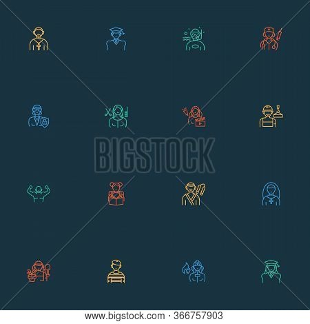 Profession Icons Line Style Set With Gardener Woman, Karate, Graduate Woman And Other Labor Elements