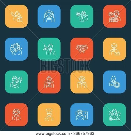 Occupation Icons Line Style Set With Teacher Woman, Karate Woman, Operator And Other Spaceman Elemen