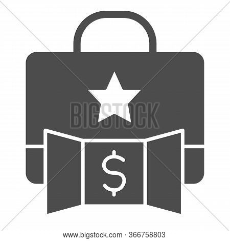 Promotion Portfolio With Dollar Solid Icon. Elite Briefcase Makes Profit With Star Symbol, Glyph Sty