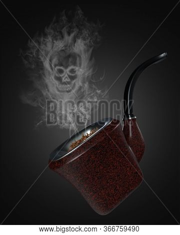 Skull Shaped Smoke Comes Out Of The Vintage Pipe On Black Background. It Means That Cigarettes Can K