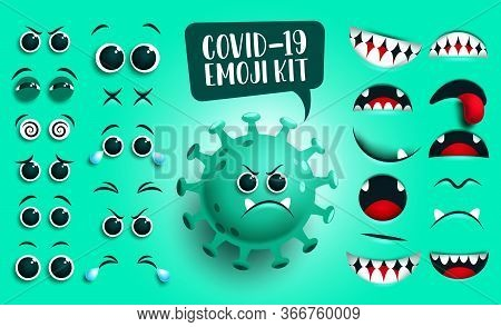 Covid19 Emoji Kit Vector Set. Green Corona Virus Covid19 Icon Creation, Kit Eyes And Mouth With Sad