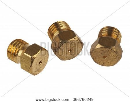 Close-up View Of Gas Jet Nozzles For Natural Gas To Lpg Conversion Of Gas Stoves, Isolated On White