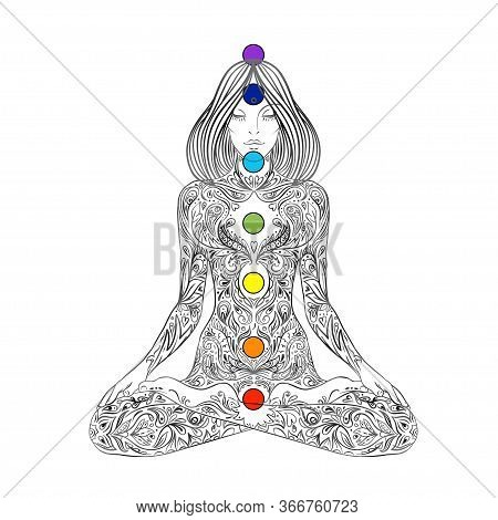 Yoga. Woman Ornate Silhouette Sitting In Lotus Pose Over Ornamental Flower, Ethnic Art. Meditation,