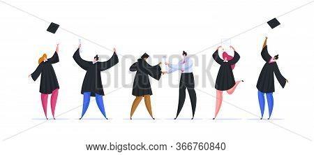 Multiethnic People Graduating From University. Flat Cartoon People Vector Illustration