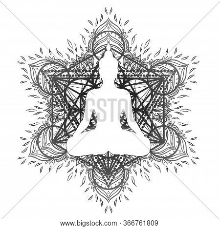 Sitting Buddha Statue Over Ornate Mandala Inspired Pattern. Esoteric Vintage Vector Illustration. In