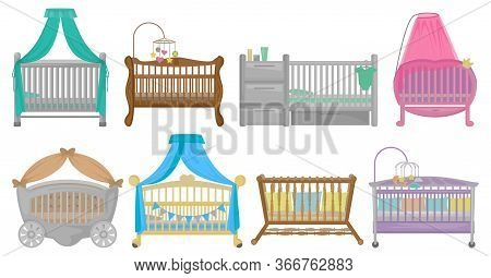 Baby Cot Vector Illustration On White Background. Vector Cartoon Set Icon Crib Bed. Isolated Cartoon