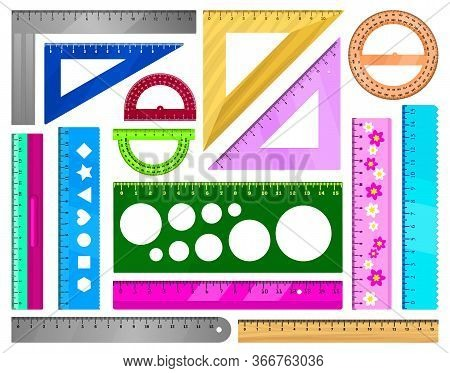 Ruler Vector Illustration On White Background. Vector Cartoon Set Icon Protractor Of Triangle. Isola