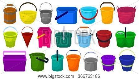 Bucket Vector Cartoon Set Icon. Vector Illustration Plastic Bucketful On White Background. Isolated