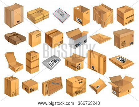 Postal Parcel Vector Cartoon Set Icon. Vector Illustration Package On White Background. Isolated Car