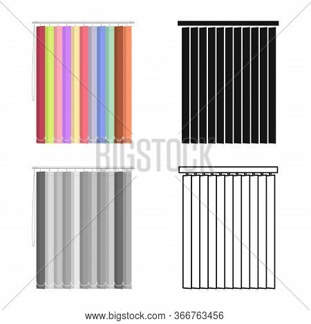 Vector Illustration Of Blinds And Wooden Symbol. Web Element Of Blinds And Casement Stock Symbol For