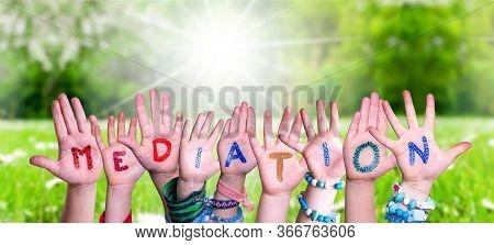 Children Hands Building Word Mediation, Grass Meadow