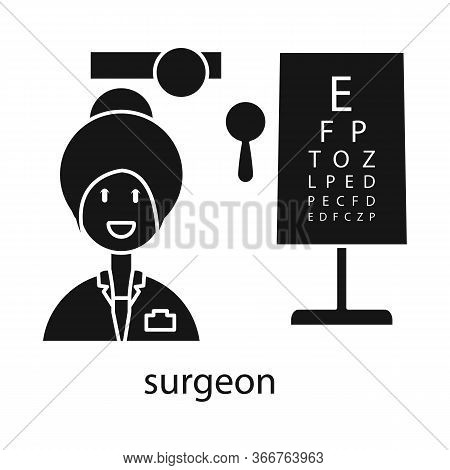 Vector Design Of Ophthalmologist And Woman Sign. Set Of Ophthalmologist And Procedure Stock Symbol F