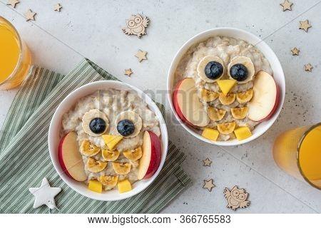 Funny Kids Breakfast Porridge Look Like Cute Owls