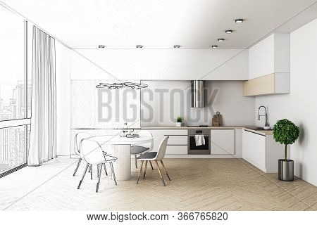 Drawing Loft Kitchen Interior With Furniture And Sunlight. Design And Style Concept. 3d Rendering