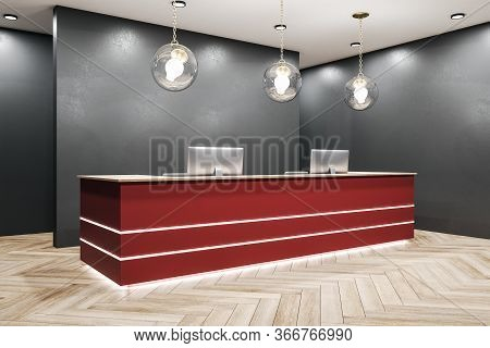 Red Reception Table With Two Computers. Workplace And Corporate Concept. Mock Up, 3d Rendering