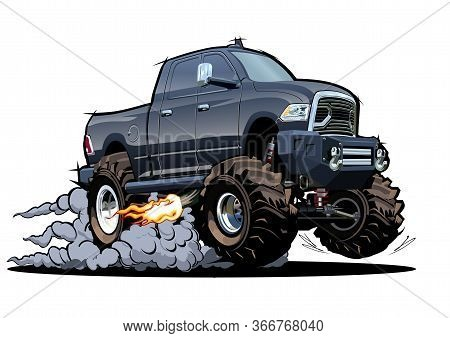 Vector Cartoon 4x4 Pickup Isolated On White Background. Available Eps-10 Separated By Groups And Lay