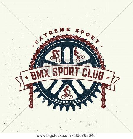 Bmx Extreme Sport Club Badge, T-shirt. Vector Illustration. Concept For Shirt, Logo, Print, Stamp, T