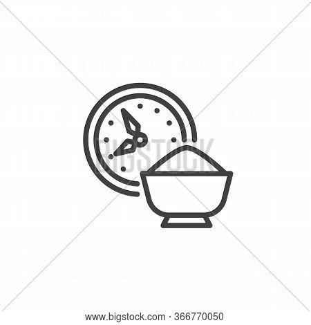 Time For Iftar Line Icon. Linear Style Sign For Mobile Concept And Web Design. Clock And Iftar Food