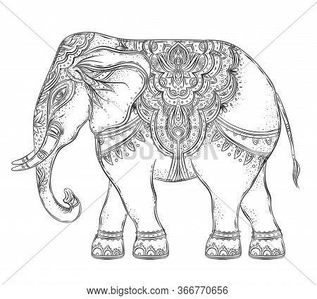 Beautiful Hand-drawn Tribal Style Elephant. Coloring Book Design With Boho Mandala Patterns, Ornamen